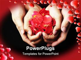 PowerPoint template displaying four hands holding red rose petals on black background with red frame filled with red hearts