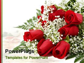 PowerPoint template displaying bouquet of dozen red roses with the white background