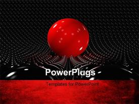 PowerPoint template displaying a giant red ball with a number of black balls in the background