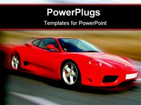 PowerPoint template displaying a sports car on the move with a blurred background