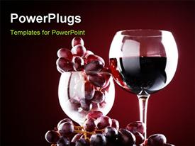 PowerPoint template displaying wine glass with red wine and red grapes in the background.