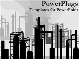 PowerPoint template displaying refineries creating pollution