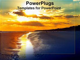 PowerPoint template displaying beautiful sunset on Hilton Head Beach in the background.