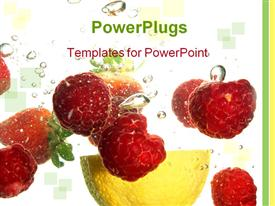 PowerPoint template displaying splash of fresh fruit to water with bubbles of air
