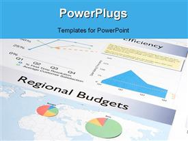 Business report containing a number of colorful charts and graphs presentation background