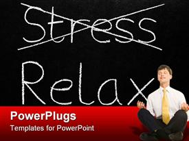 PowerPoint template displaying man in suit in meditation pose with stress crossed out in background