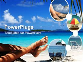 Woman with sandy feet relaxing on a tropical beach in the Caribbean powerpoint template