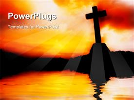 PowerPoint template displaying a holy cross with its reflection in water