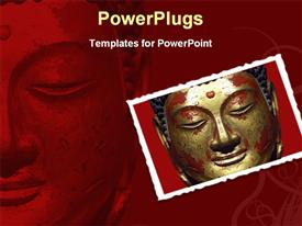 PowerPoint template displaying depiction of ancient lord Buddha