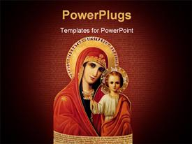 PowerPoint template displaying ancient orthodox Icon of Divine mother. One of the basic orthodox icons