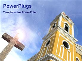 PowerPoint template displaying big catholic church with a cross under sun rays and a blue sky