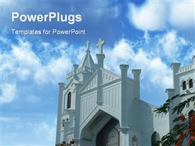 PowerPoint template displaying beautiful graceful church set in paradise