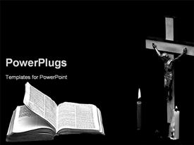 PowerPoint template displaying christian theme with crucifix, Jesus on Cross, candles, Bible, church