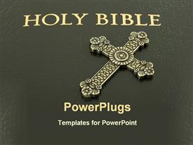 PowerPoint template displaying bible with a cross