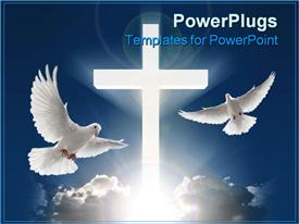PowerPoint template displaying two white doves flying in blue sky next to huge white cross