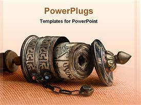 PowerPoint template displaying buddhist incense burner laying on its side, Buddhism, religion