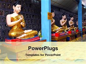 PowerPoint template displaying burmese Buddha statue in different mood