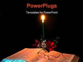Candle gently lighting a bible powerpoint theme
