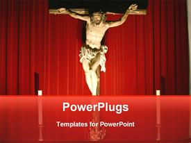 PowerPoint template displaying an image of Jesus Christ on a cross and two candles