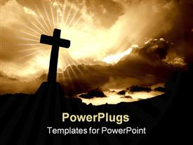 PowerPoint template displaying christian cross silhouette and the clouds in sepia tone