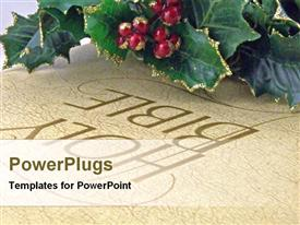 Christmas leaves and holy bible template for powerpoint