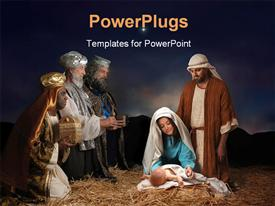 Christmas nativity scene with three Wise Men presenting gifts to baby Jesus Mary & Joseph powerpoint design layout