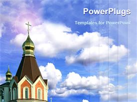 PowerPoint template displaying church steeple with gold cross on blue sky background with clouds
