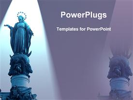 PowerPoint template displaying a tall high statue of holy Mary with a crown
