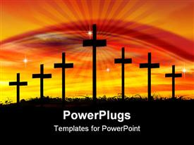 PowerPoint template displaying seven crosses with stars and a bright shinning sunset light
