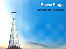 PowerPoint template displaying a high church building with a cross on top of it