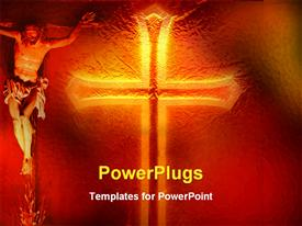 PowerPoint template displaying an image of jesus and a large gold colored cross