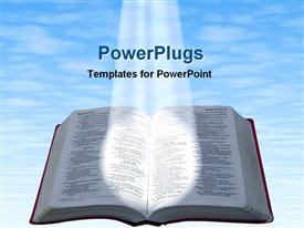 PowerPoint template displaying spotlight glowing on open Bible with blue cloudy sky