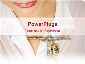 PowerPoint template displaying beautiful young lady with crucifix hanged across neck