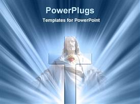 PowerPoint template displaying a holy cross with bluish background