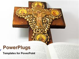 PowerPoint template displaying religious depiction with open religious book and wooden cross
