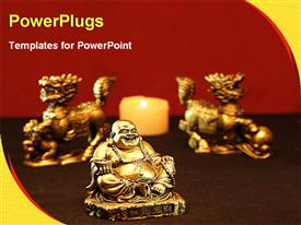 PowerPoint template displaying golden statue of Buddha with two horses and lighted candle