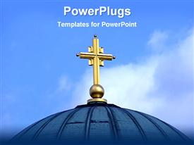 PowerPoint template displaying gold colored cross on the top of a cathedral