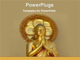PowerPoint template displaying golden statue of a Buddha