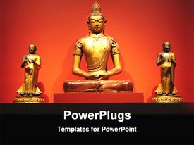 PowerPoint template displaying golden statue of lord Buddha