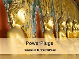 PowerPoint template displaying golden statues of lord Buddha