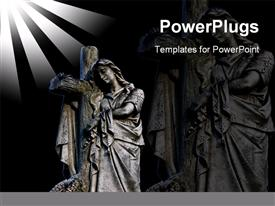 PowerPoint template displaying graveyard statue, probably representing Mary at the Cross of Jesus Christ