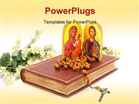 PowerPoint template displaying a representation of Jesus and Merry with a holy bible