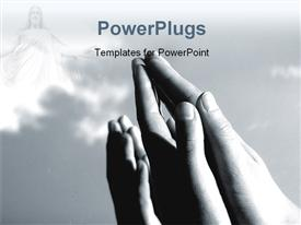 Hands folded in prayer and raised towards sky powerpoint design layout