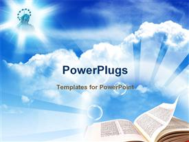 PowerPoint template displaying here you can find a nice bible under blue sky in the background.