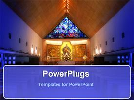 PowerPoint template displaying inside view of church with ornate stained glass windows