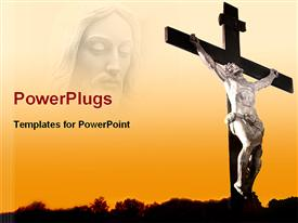 PowerPoint template displaying jesus in the background.