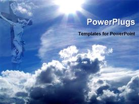 PowerPoint template displaying jesus blessing from heaven in the background.