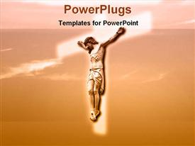 PowerPoint template displaying a large image of Jesus Christ on a glowing white cross