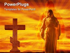Jesus figure spotlighted and glowing in the sky powerpoint design layout