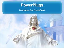 PowerPoint template displaying jesus in front of a church